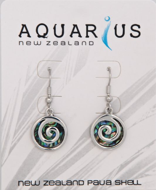 Paua / Metal Spiral Earring - Kiwi Collections