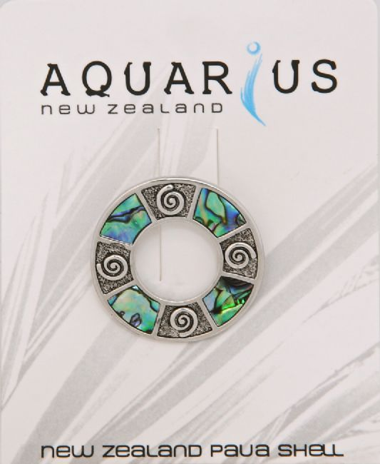 Paua Spiral Round Brooch - Kiwi Collections