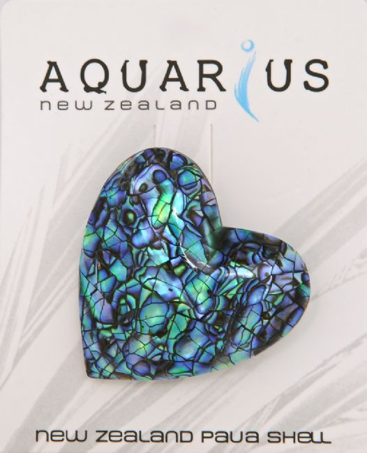 Paua Cracking Heart Brooch - Kiwi Collections