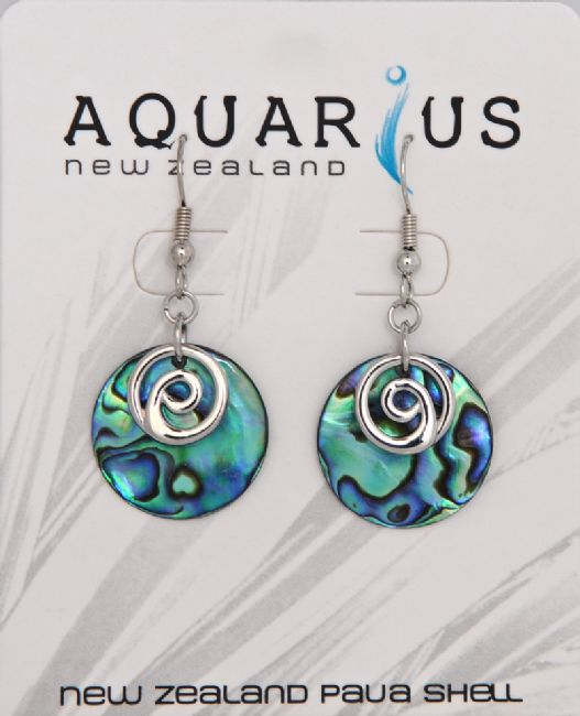 Paua Disc Silver Spiral Hook Er - Kiwi Collections