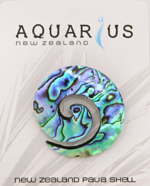 Paua Koru Brooch - Kiwi Collections