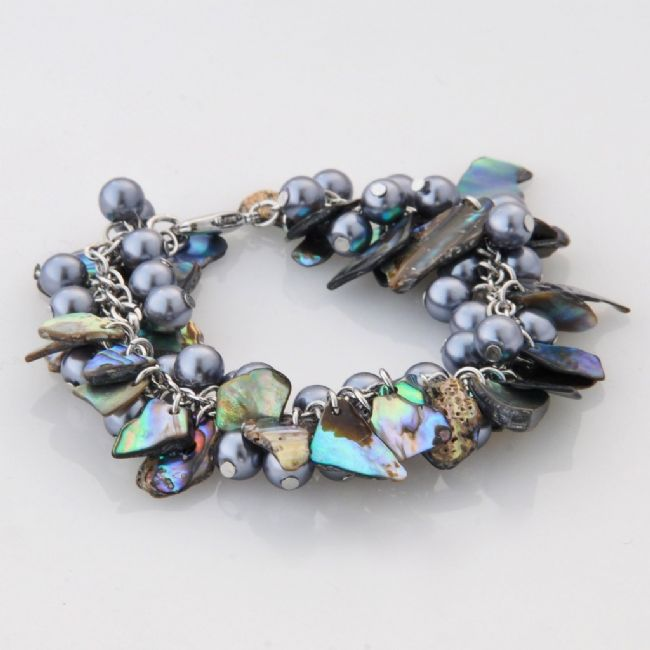 Paua/Grey Bead Multi Bracelet - Kiwi Collections