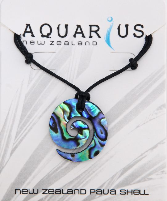 Paua Small Koru Cut Out Pendant - Kiwi Collections