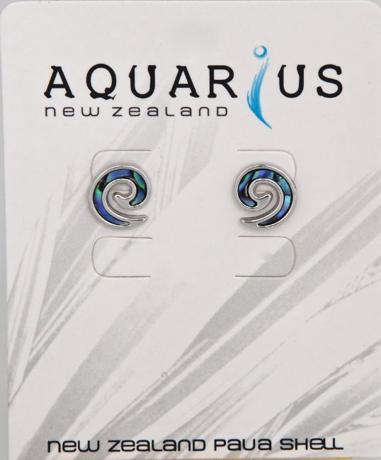 Paua Inlay Koru Earrings - Kiwi Collections