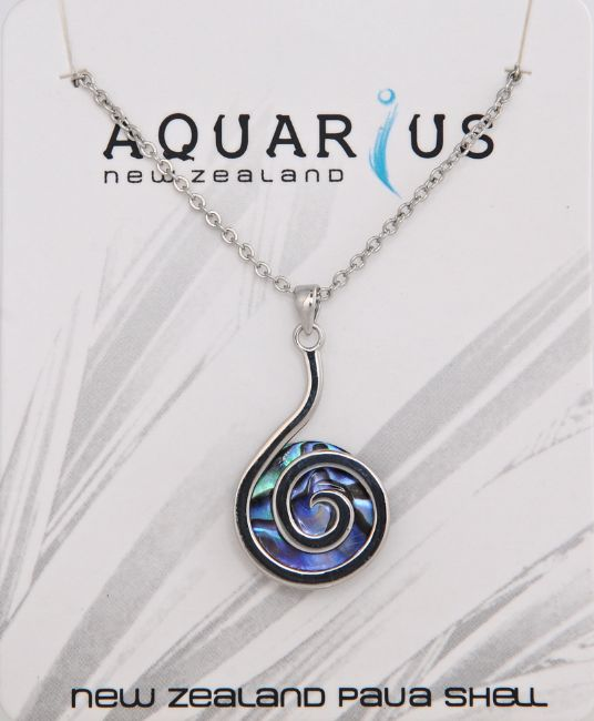 Paua Backed Koru Pendant - Kiwi Collections