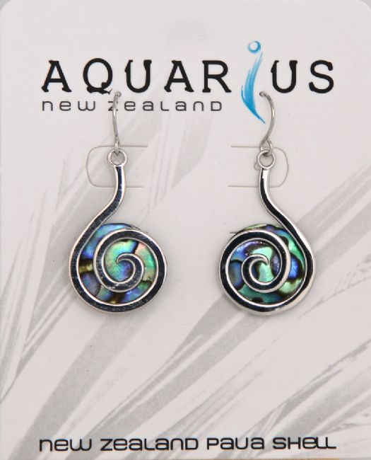 Paua Backed Koru Earring - Kiwi Collections