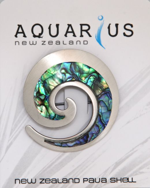 Paua Chrome Koru Brooch - Kiwi Collections