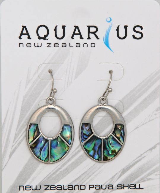 Paua Sectioned Oval Er - Kiwi Collections