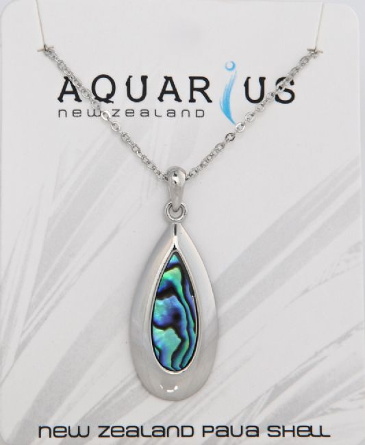 Paua Metal Teardrop Pendant - Kiwi Collections