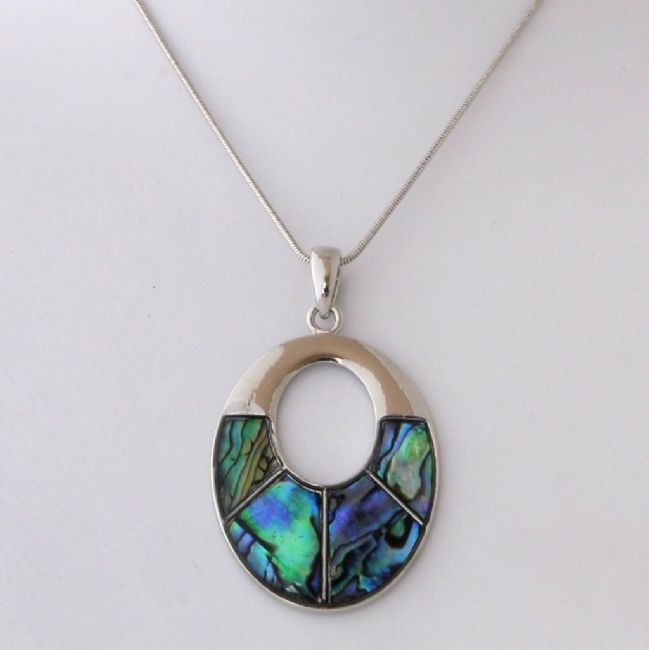 Paua Sm Sectioned Oval Pendant - Kiwi Collections