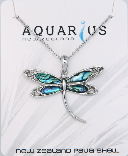 Paua Lg Dragonfly Pendant - Kiwi Collections