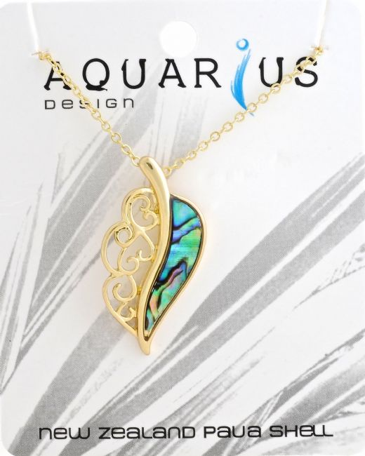 Gold Paua Leaf Pendant - Kiwi Collections