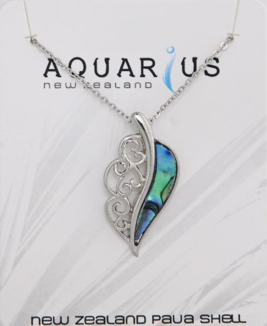 Paua Leaf Pendant - Kiwi Collections