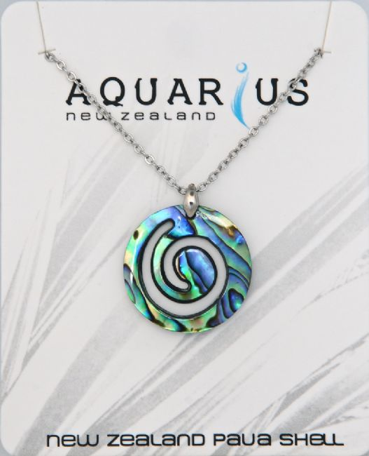 Paua Med Koru Pendant - Kiwi Collections