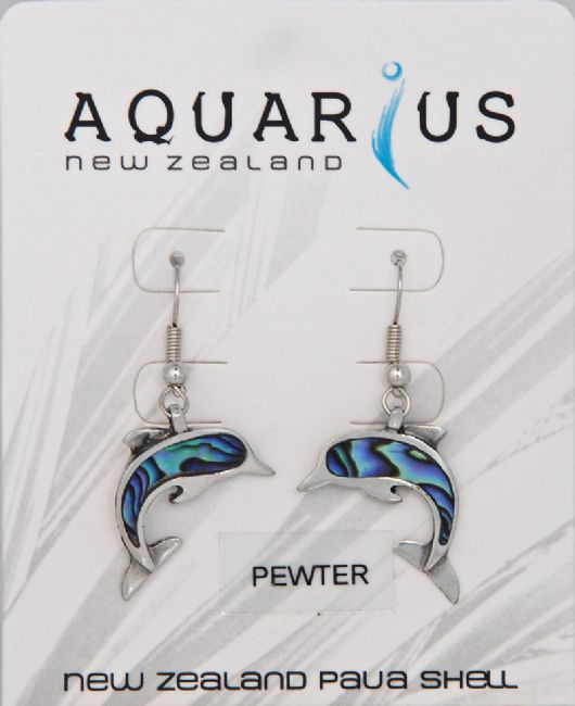Paua Pewter Dolphin Er - Kiwi Collections