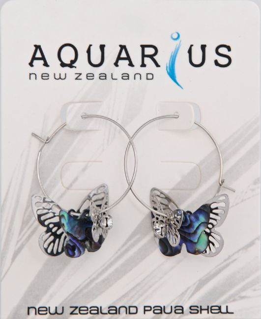 Paua Multi Butterfly Hoop - Kiwi Collections