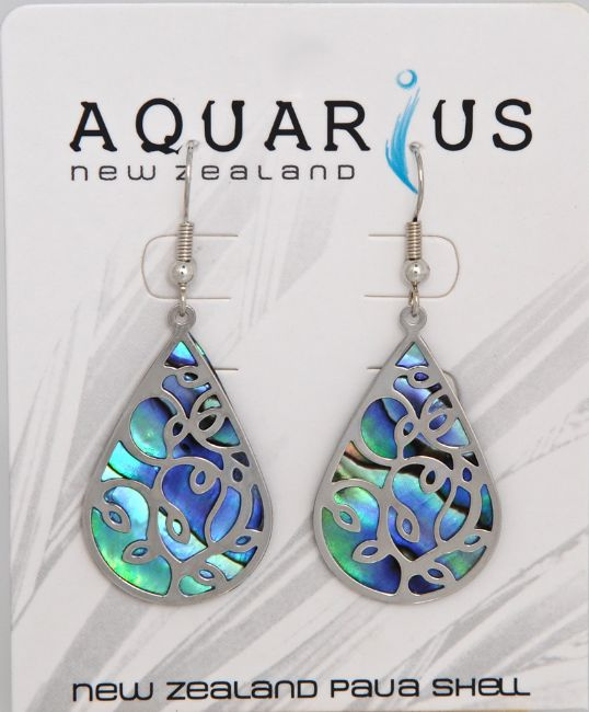 Paua Teardrop With Overlay Er - Kiwi Collections