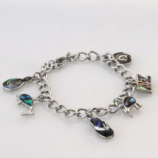 Paua Adults Charm Bracelet - Kiwi Collections