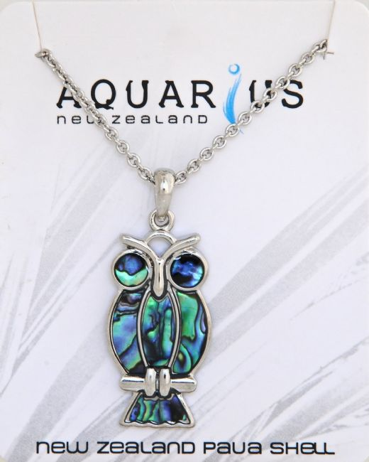 Paua Owl Pendant - Kiwi Collections