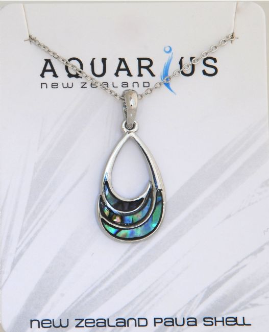 Paua Teardrop Cut Out Pendant - Kiwi Collections