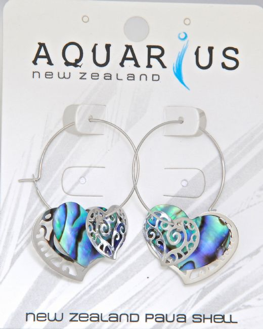 Paua Heart Multi Filigree Hoop ER - Kiwi Collections