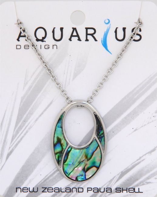 Paua Med Sectioned Looped Pendant - Kiwi Collections