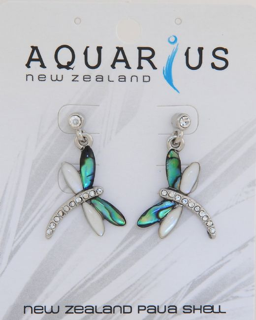 Paua & Crystal Dragonfly Stud Earring - Kiwi Collections