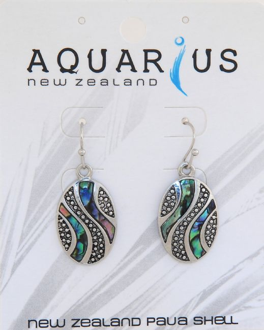 Paua Antique Look Oval ER - Kiwi Collections