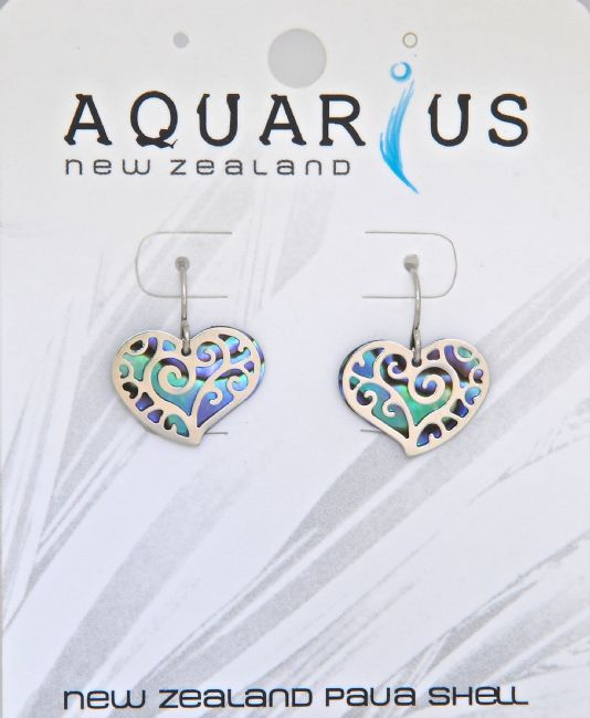 Paua Small Heart Filigree HK Earring - Kiwi Collections