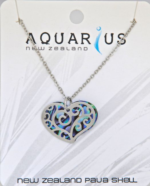 Paua Large Heart Filigree Pendant - Kiwi Collections