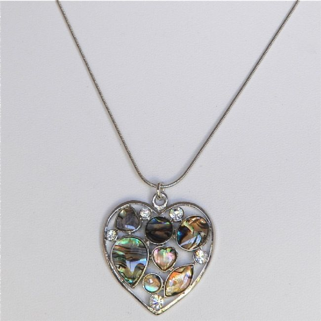 Paua Heart with Crystal Necklace - Kiwi Collections