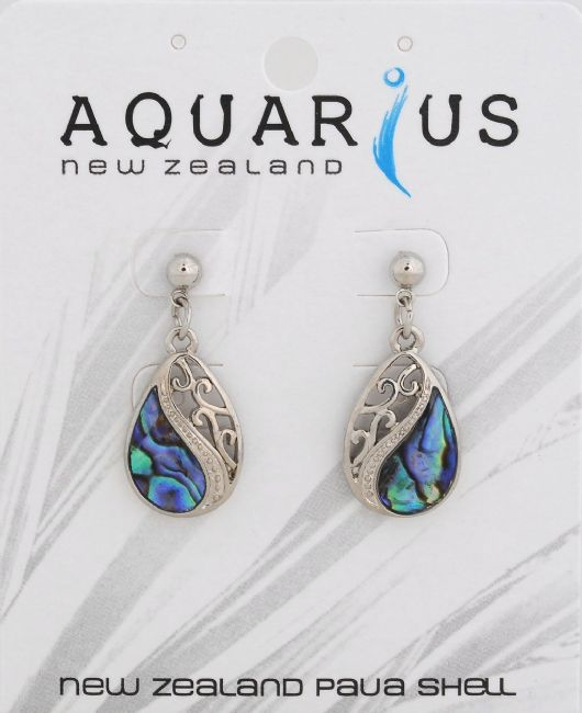 Mitre Floating Paua filigree teardrop on post earring - Kiwi Collections
