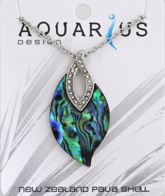 Paua Leaf with crystal pendant on chain 18+3 - Kiwi Collections