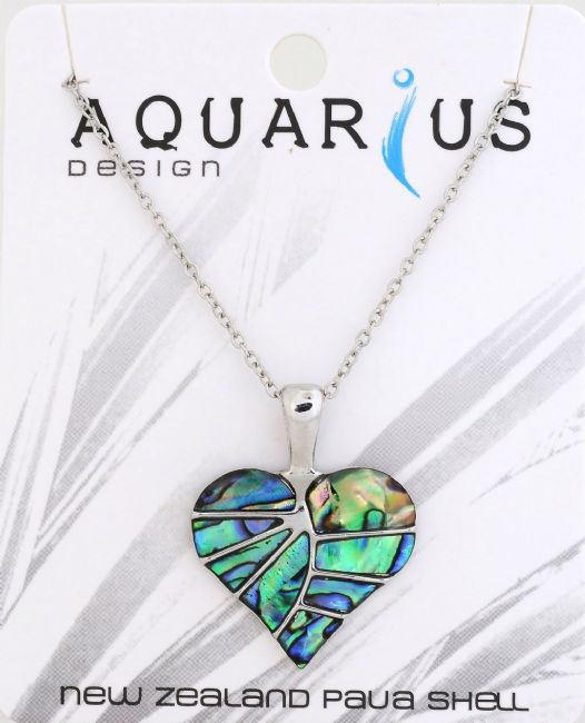 Paua no-edge Heart leaf pendant on chain 18+3 - Kiwi Collections