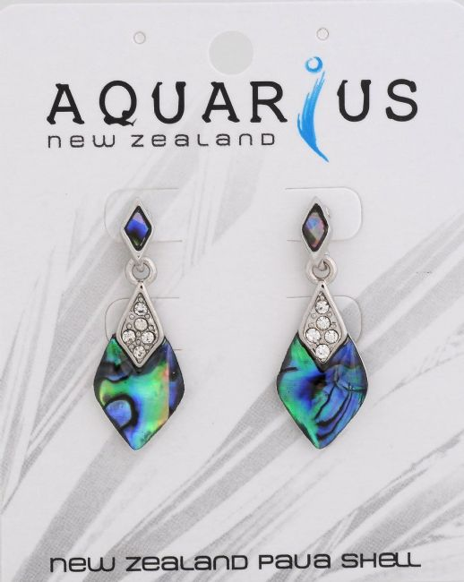 Paua teardrop with crystal earring - Kiwi Collections
