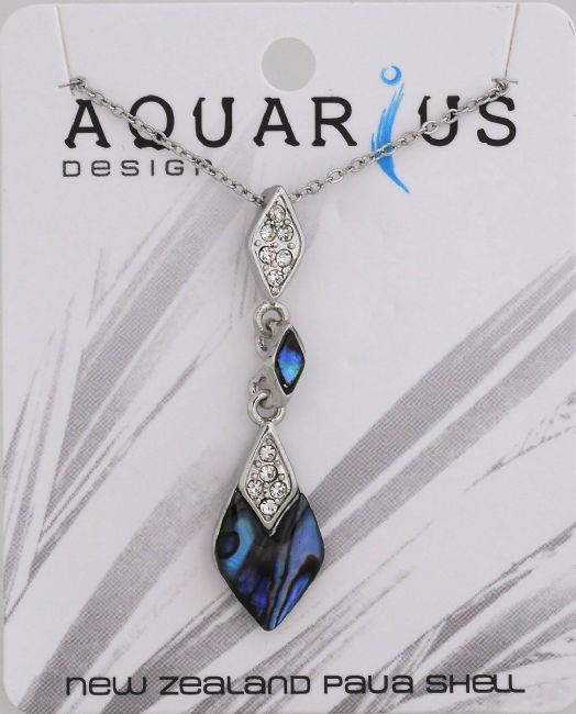 Paua teardrop with crystal pendant on chain 18 - Kiwi Collections