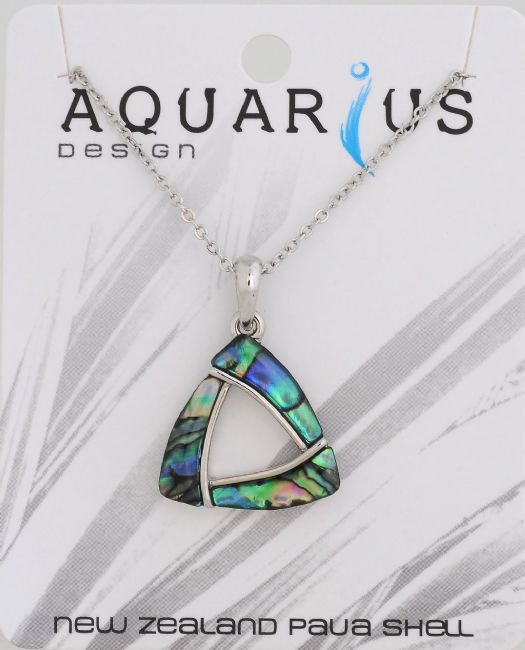 Paua Triangle pendant on chain 18 - Kiwi Collections