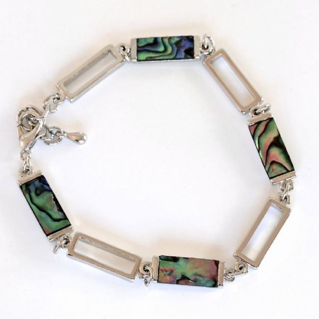 Rectangle paua pieces bracelet - Kiwi Collections