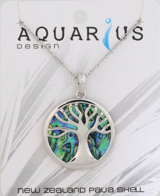 Paua Kauri Tree Pendant on Chain 18+3 - Kiwi Collections