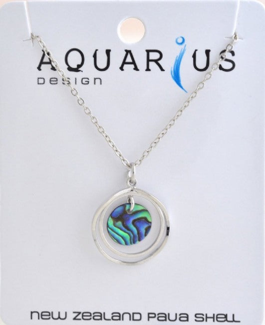 Paua Circle on 2 Rhodium Rings Pendant - Kiwi Collections