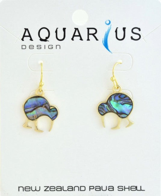 Natural Paua Walking Kiwi ER Gold - Kiwi Collections