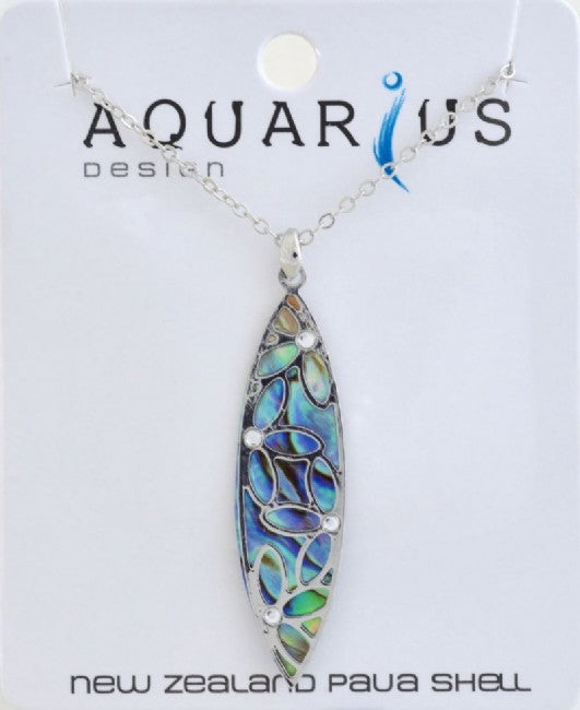 Paua Leaf with Crystal Pendant NL - Kiwi Collections