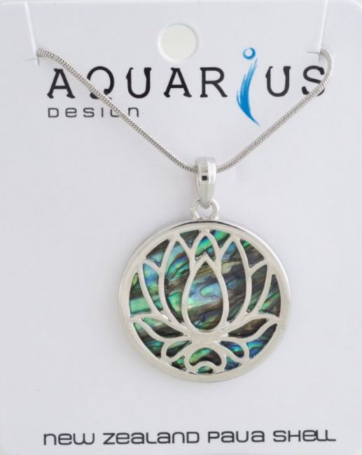Paua Lotus Pendant NL - Kiwi Collections