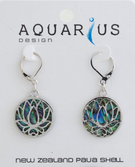Paua Lotus French Hook 20mm ER - Kiwi Collections