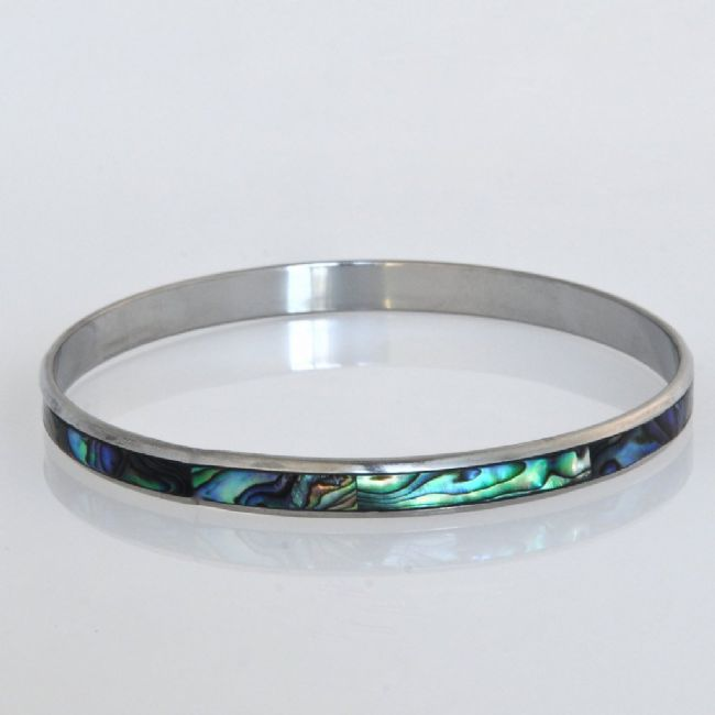 Paua/Steel 5mm Folded Bangle - Kiwi Collections