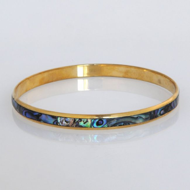 Paua/Brass 5mm Bangle - Kiwi Collections