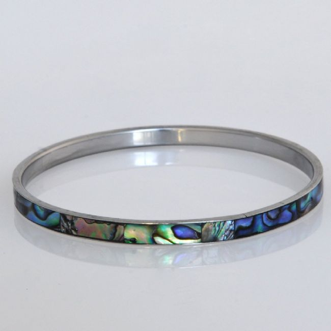 Paua/Steel 5mm Bangle - Kiwi Collections