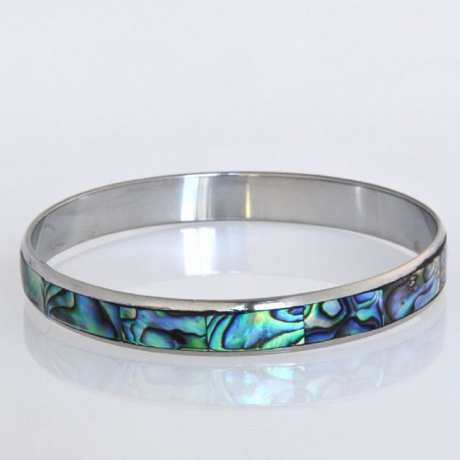 Paua/Steel 10mm Bangle - Kiwi Collections