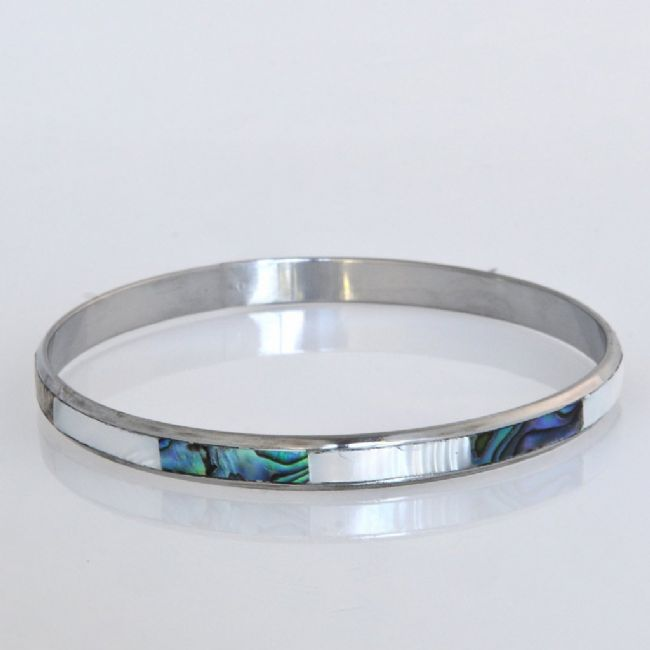 Paua/White/Steel 5mm Bangle - Kiwi Collections
