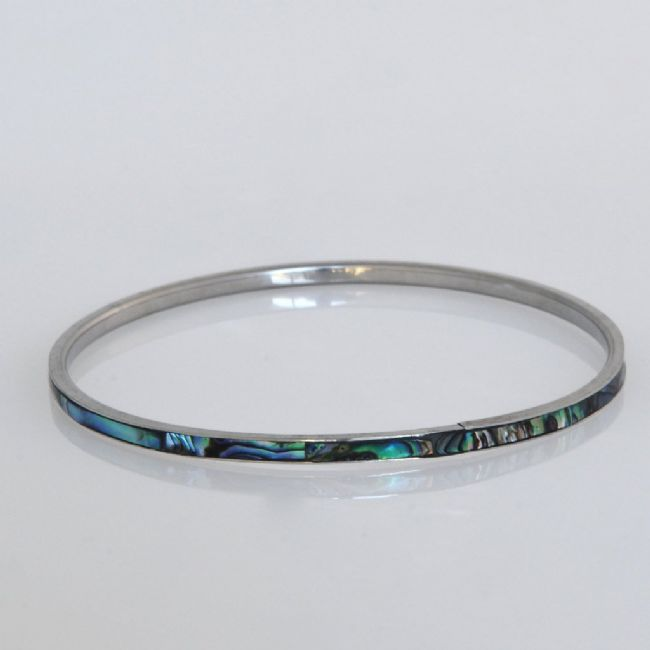 Paua/Steel 3mm Bangle - Kiwi Collections